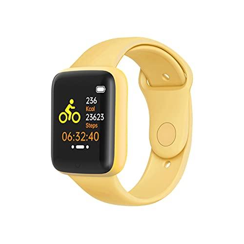 PYAIXF Reloj Inteligente, 1,44 Pulgadas Impermeable Monitor De Fitness Llamada Entrante Detección De Frecuencia Cardíaca 7/24 5 Días De Duración De La Batería 7 Colores-Yellow