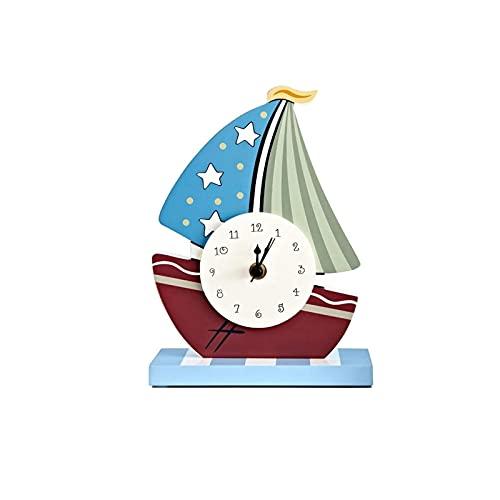 XBYUNDING Mantel Reloj Ship Ship Forma Número árabe Dial Chimenea Escritorio Reloj Mute Desktop Battery Powered,Decor Gift,Desk Shelfs Relojes adecuados como Regalos for Amigos (Azul)