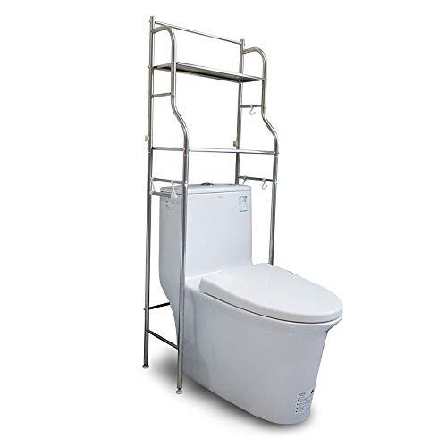 YOKEPO Over-The-Toilet Storage Shelf, Bathroom Metal Spacesaver Rack with Hooks, Adjustable Feet Multifunctional Space-Saving Storage Rack Freestanding Bathroom Shelf (Stainless Steel-2 Tiers)