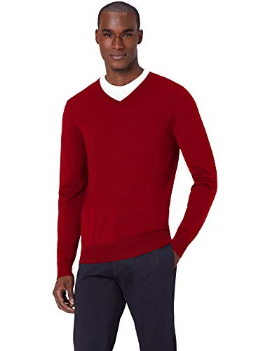 Amazon-Marke: MERAKI Merino Pullover Herren mit V-Ausschnitt, Rot (Red), 3XL, Label: 3XL