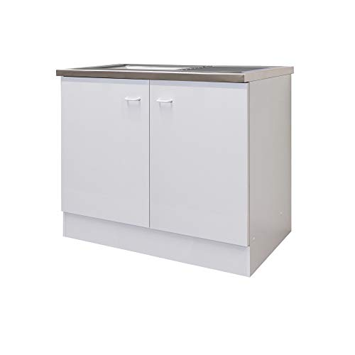 Flex-Well Spülenunterschrank BOCHUM | Spülenschrank mit Spüle | Breite 100 cm | Weiß