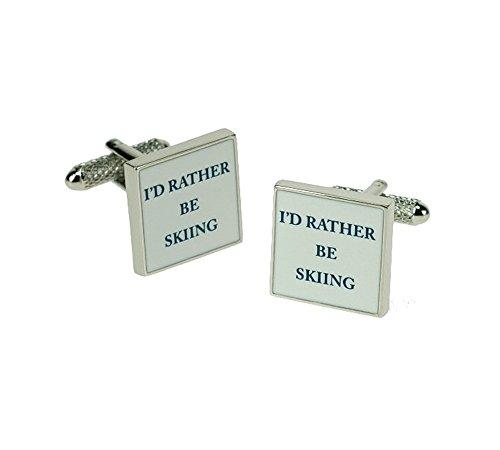 Onyx Art Boutons de manchette I'd rather Be Skiing de ski cadeau