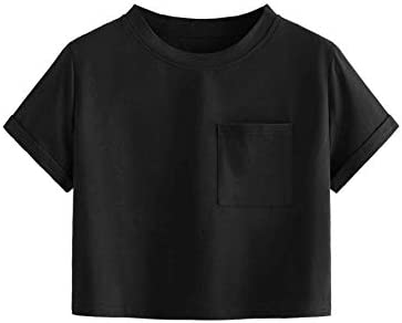 SweatyRocks Women s Cotton Solid Roll Up Short Sleeve Casual Crop Tops T Shirt Black S product image
