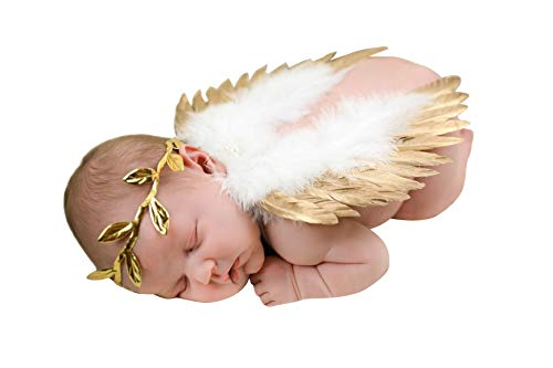 chinatera Newborn Angel Feather Wings Photography Props with Crystal Leaves Headband (Gold
