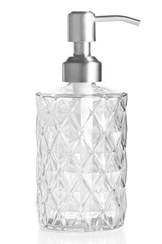 Easy-Tang Soap Dispenser 12 Ounces for Kitchen,Bathroom - Refillable Wash Hand Liquid Clear Glass Bottle with Silver Stainless Steel Pump,Ideal for Dish Detergent,Essential Oil,Shampoo Lotion (Clear)