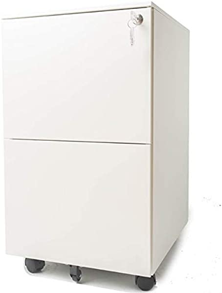 Pemberly Row 15 4 Wide 2 Drawer Metal Mobile File Cabinet With Lockable Drawers And Wheels In White Letter Legal Size