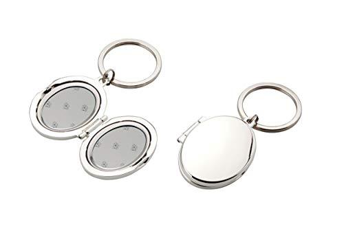 Gravuren und Geschenke Medaillon Schlüsselanhänger Versilbert (Ohne Gravur)