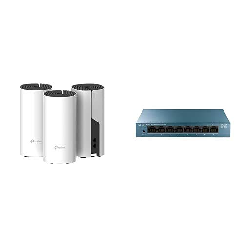 TP-Link Deco M4 Mesh WiFi Set AC1200 Tutorial de Red Doméstica WiFi + TP-Link LS108G - Switch 8 Puertos (10/100/1000) Switch ethernet, Switch gigabit, Carcasa metálica