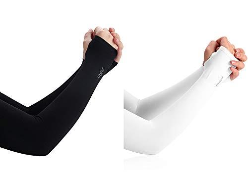 UV-Sonnenschutz, kühlende Armstulpen, UV-Schutzfaktor 50, für Damen und Herren, für Basketball, Laufen, Radfahren, Golf, Volleyball, Baseball & Fußball, Schwarz & Weiß, 2 Paar