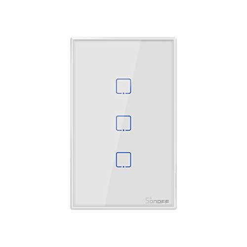 SONOFF T0US3C Intelligenter WLAN-Lichtschalter zur Wandmontage, 3-Kanal-Schalter für intelligente Hausautomatiklösungen, kompatibel mit Amazon Alexa und Google Home Assistant