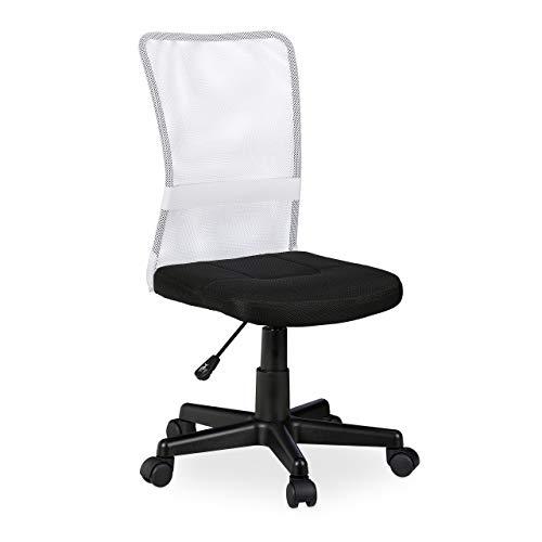 Relaxdays Bürostuhl, höhenverstellbarer Kinder Drehstuhl, ergonomisch, 90 kg belastbar, HxBxT: 102 x 55 x 55 cm, weiß