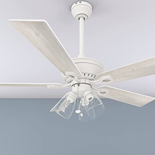 """Prominence Home 50389 Glenmont Coastal Ceiling Fan, 52"""", Distressed White"""