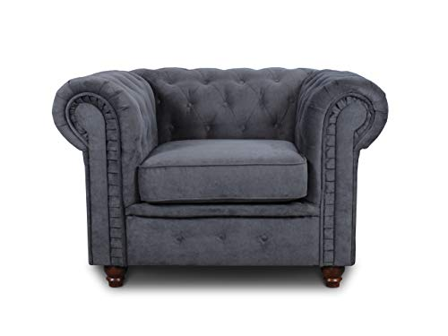 Sessel Chesterfield Asti - Couch, Couchgarnitur, Couchsessel, Loungesessel, Stühl, Holzfüße - Glamour Design (Graphit (Capri 16))