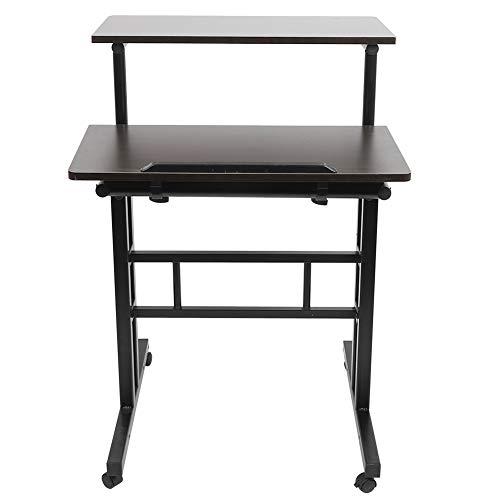 Escritorio para portátil, estación de trabajo portátil, compacto, de pie, altura regulable, 60 cm, con ruedas, diseño de ranura (nogal)