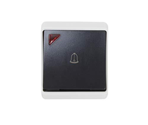 Pulsante campanello esterno con luce, impermeabile IP54 colore nero.