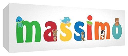Little Helper LHV-MASSIMO-3084-15IT Toile pour Nursery avec panneau frontal, motif personnalisable avec prénom des garçons maximum, multicolore, 30 x 84 x 4 cm