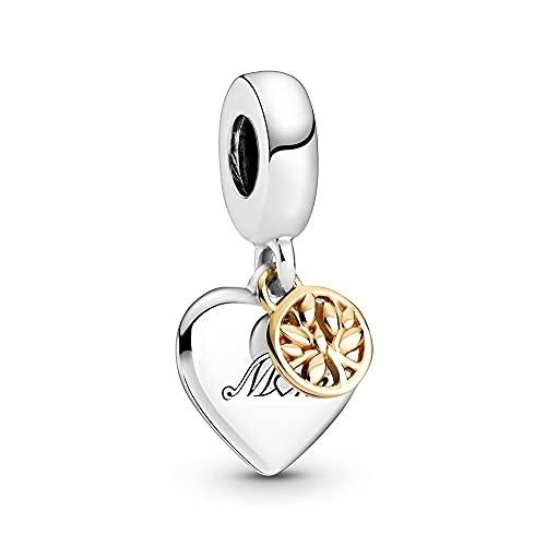 Pandora 925 Sterling Silver DIY Jewelry CharmTree and Heart Colgante para pulsera Dos tonos Bead Family Colgante Árbol y corazón Elegante para mujer Pulsera Joyería