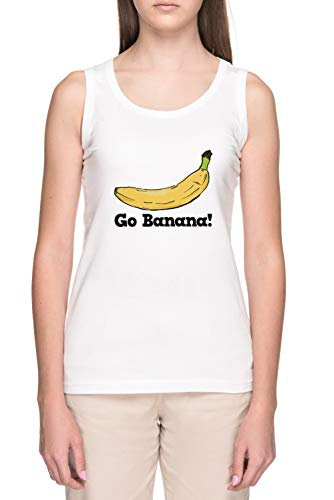 Go Banana! Mujer Blanco Tank Camiseta Women's White Tank T-Shirt