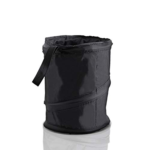 Zone Tech Universal Traveling Portable Car Trash Can - Black Collapsible Pop-up Leak Proof Trash Can- for Garbage to Organize Car, Waste Basket Bin, Rubbish Bucket