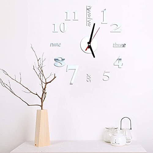 Reloj de Pared Moderno y Elegante, Reloj de 40 cm Reloj de Pared Moderno sin Marco en 3D Relojes de Estilo Horas Habitación de Bricolaje Decoraciones para el hogar Modelo (Color: Negro) (Color: Plat