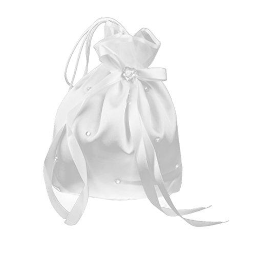 Bolsa de Organza Bolso de Boda Novia Diamantes de Imitación Decoración para Regalo Blanco