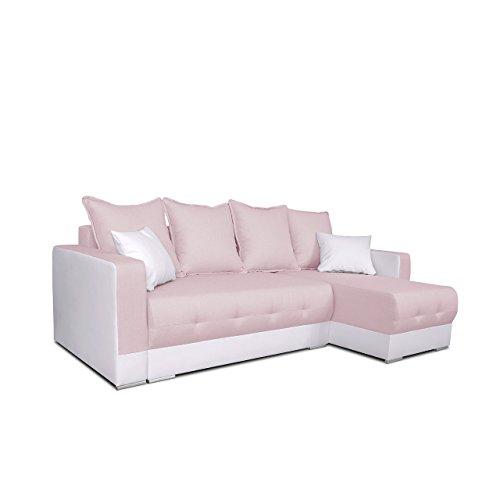 Mirjan24 Ecksofa Spiro! Eckcouch mit Schlaffunktion und Bettkasten! Couch Sofa! Farbauswahl, Ottomane Universal, L-Form Schlafsofa Bettsofa (Soft 017 + Twist 16)