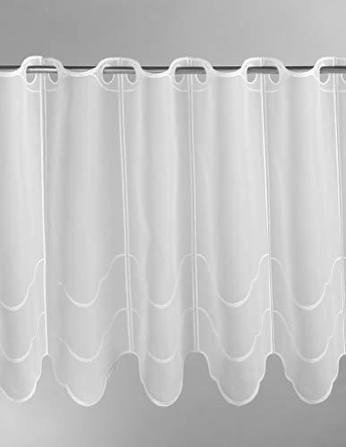 Scheibengardine Wellenmuster quer 90 cm hoch   Breite der Gardine durch gekaufte Menge in 15,5 cm Schritten wählbar (Anfertigung nach Maß)   weiß   Vorhang Küche Wohnzimmer