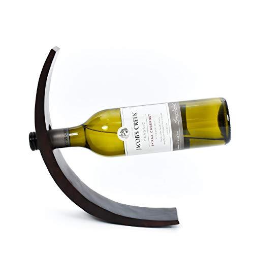 Leewadee Weinflaschenhalter Flaschenständer, 29x6x10 cm, Mangoholz, braun