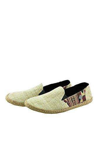 virblatt - Espadrilles for Men   100% Hemp   10.5 Summer Shoes Beige Casual Footwear Espadrille Casual Canvas Loafer - Passend 45