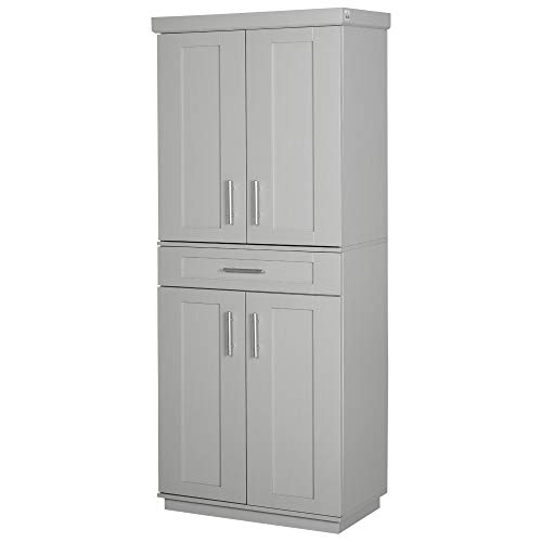 HOMCOM Modern Kitchen Pantry Freestanding Cabinet Cupboard with Doors and Shelves, Adjustable Shelving, Grey