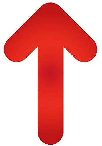 Pack 15 ud. Pegatina suelo Flecha roja Antideslizante para Indicación recorrido seguridad- Medidas 19,3 x 30 cm / 7,60 x 11,81 in