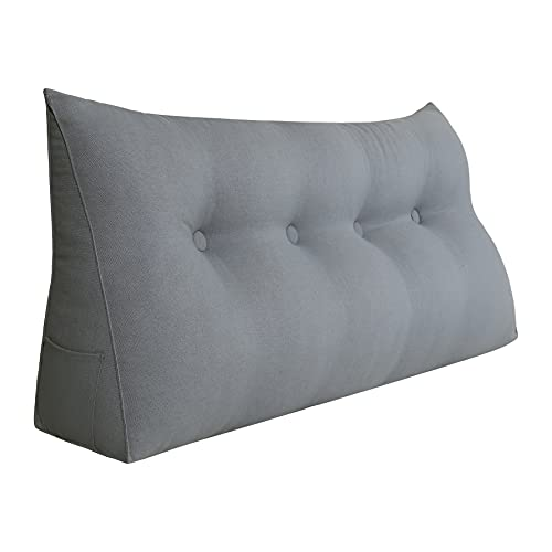 WOWMAX Triangular Reading Pillow Large Bolster Headboard Backrest Positioning Support Wedge Pillow for Day Bed Bunk Bed with Removable Cover Gray Linen Blend Full Size