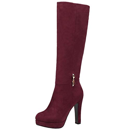 Lydee Mujer Elegant Botas Altas Tacón Anchos Botas Muslo Plataforma Dress Botas Largas Oficina Invierno Zapatos Tacones Cremallera Claret Tamaño 40