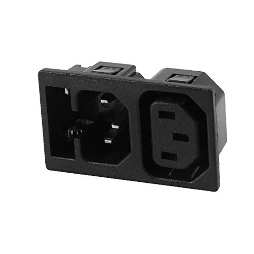 X-DREE AC 250V 10A / 15A Montaje en panel IEC C13 C14 Adaptador de toma de corriente con portafusibles(AC 250V 10A/15A Panel Mounted IEC C13 C14 Power Socket Adapter w Fuse Holder
