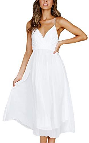 Spec4Y Damen Kleider V-Ausschnitt Träger Sommerkleider Einfarbig Partykleid Casual Midi Strandkleid Weiß M