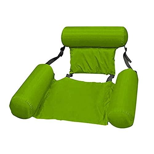 Tekaopuer Colchón de aire inflable plegable portátil para natación, sofá flotante, silla de respaldo inflable plegable, hamaca de agua para adultos y niños (2 unidades, verde)