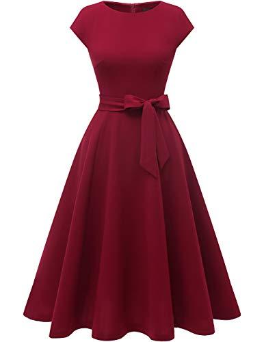 DRESSTELLS Midi 1950er Vintage Retro Rockabilly Kleid Damen elegant Hochzeit Cocktailkleid Burgundy M