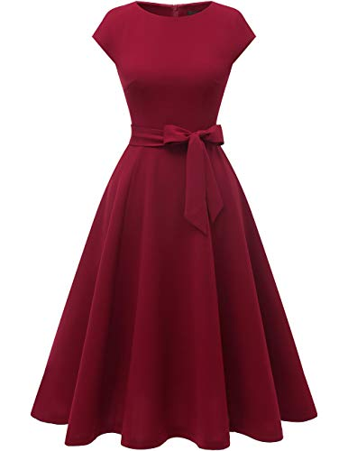 DRESSTELLS Midi 1950er Vintage Retro Rockabilly Kleid Damen elegant Hochzeit Cocktailkleid Burgundy XL