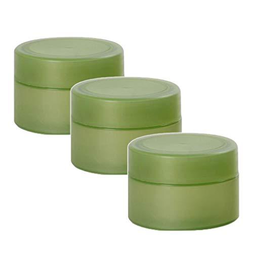 Hellery 3 Packs 50 Grammes Petit Rechargeable Ronde en Plastique Conteneurs Pots Maquillage Cosmétique Lotion Aloe Vera Crèmes Pommades de Stockage Cas Fuite - Vert
