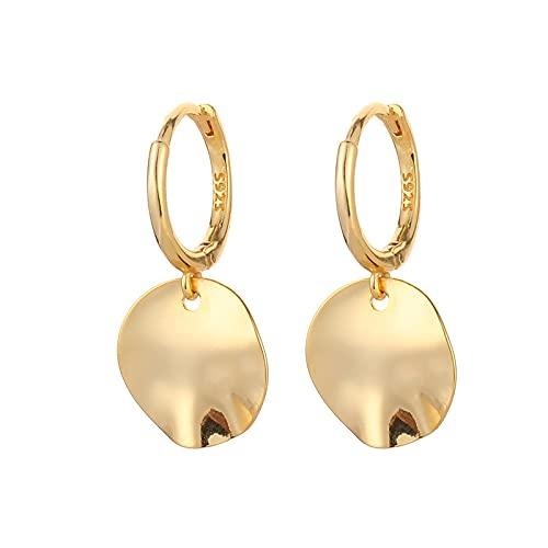 DFDLNL Earings Holiday Pendientes de aro con Colgante de Disco Irregular geométrico para Mujer Fiesta GoldColor