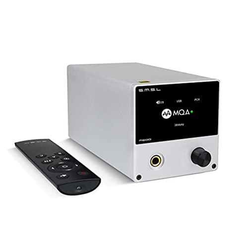 SMSL M500 MQA DAC 24 Bit / 768 kHz DSD512 ES9038PRO D / A-Chip USB / Optique / Coax HiFi-Desktop-Headphone-Amp-Decoder avec télécommande (Argent)