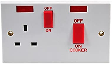 PRO ELEC - 45A DP Cooker Control Switches & Socket with Neon