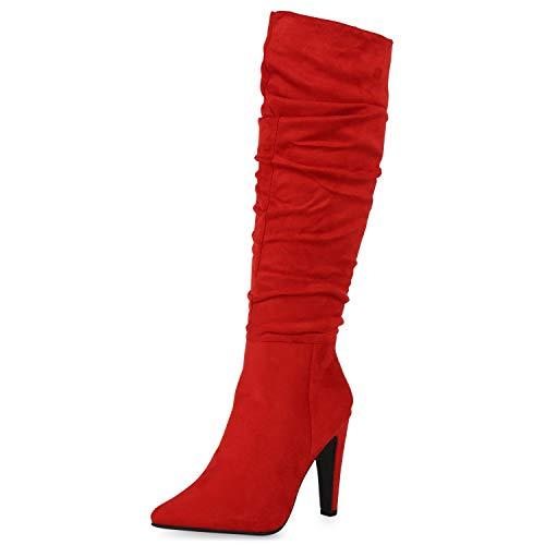 SCARPE VITA Damen High Heels Stiefel Leicht Gefütterte Stiletto Slouch Boots Wildleder-Optik Schuhe Klassische Absatzschuhe 186347 Rot 37