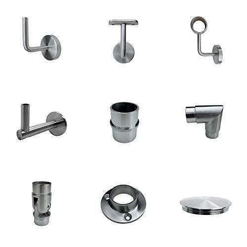 Supporto per corrimano in acciaio inox, tappi per le estremità, attacco a parete, connettore adatto per tubi da 42,4 mm x 2 mm, per ringhiere scale V2A
