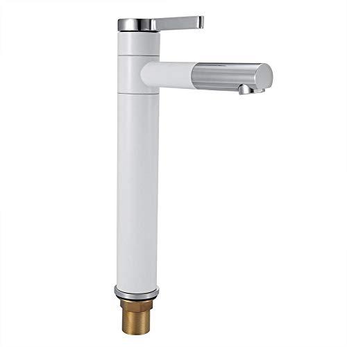 Oyunngs Grifo Giratorio de 360 °, Grifo de Agua Caliente fría, Pintura, Grifo del Lavabo del baño Blanco, para el jardín de la Cocina doméstica