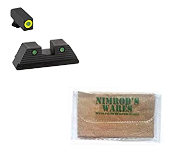 Nimrod s Wares AmeriGLO Trooper Night Sights Set Compatible with Glock 42 43 43X GL-822 Bundle with Microfiber Cloth