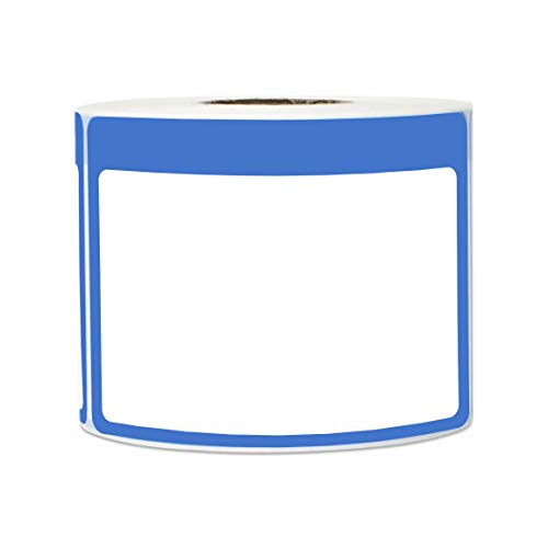 300 Labels - Name Tag Stickers Write-On Surface with Colorful Border for Visitor Badges (3.5 x 2.25 Inch, Blue, 1 Roll)