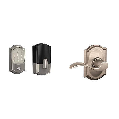 Schlage Lock Company BE489WB CAM 619 Schlage Encode Smart WiFi Deadbolt with Camelot Trim in Satin Nickel, Lock & F10 Acc 619 CAM Camelot Trim with Accent Hall and Closet Lever, Satin Nickel