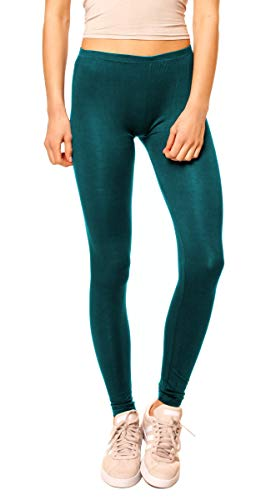 Easy Young Fashion Damen Basic Viscose Jersey Leggings Leggins Lang Uni Einfarbig One Size Petrol