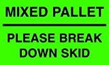 TapeCase Shipping Packing Labels'Mixed Pallet', Yellow/Black - 500 per Pack (1 Pack)